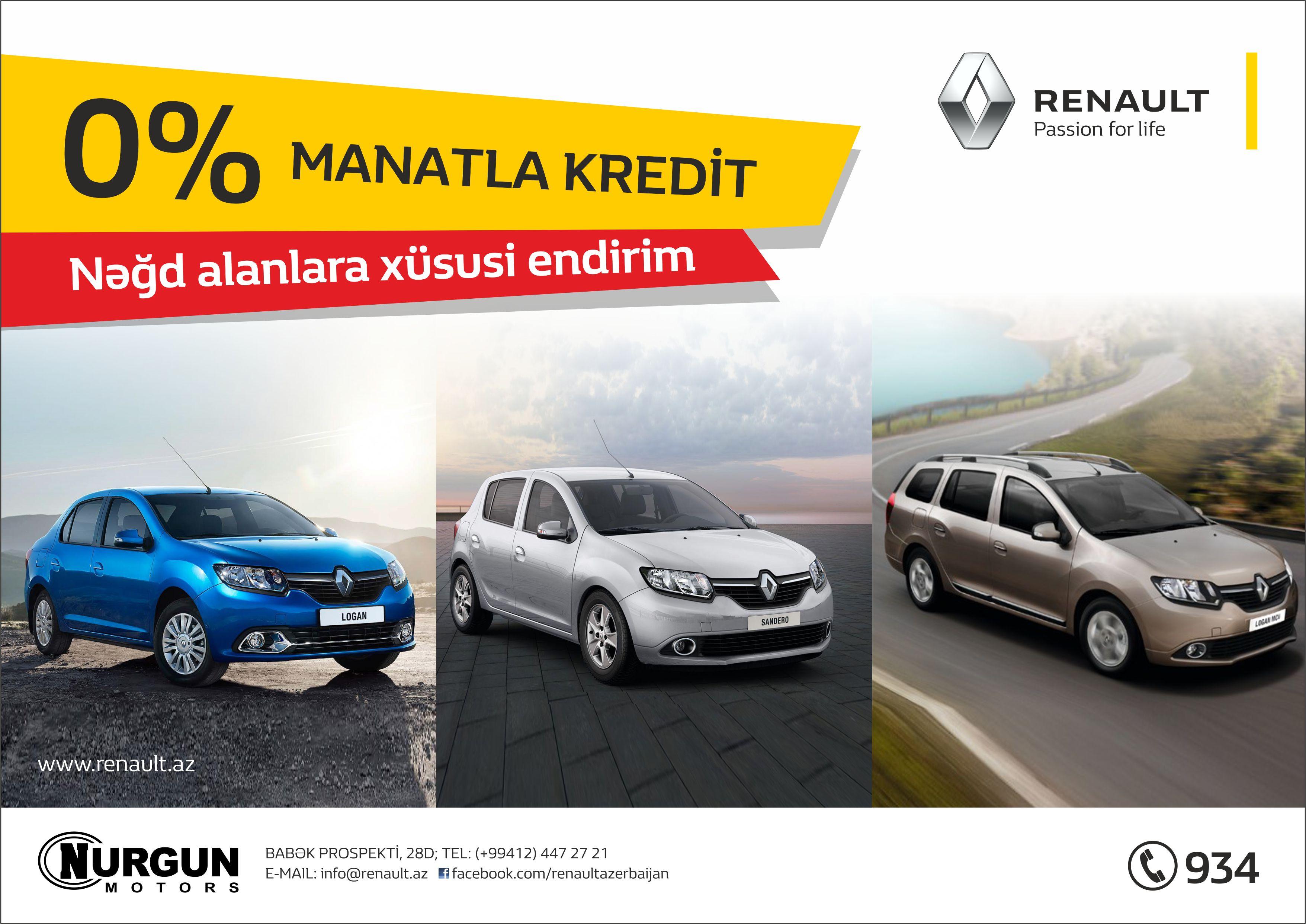Renault modelləri üçün manatla 0% kampaniyası!
