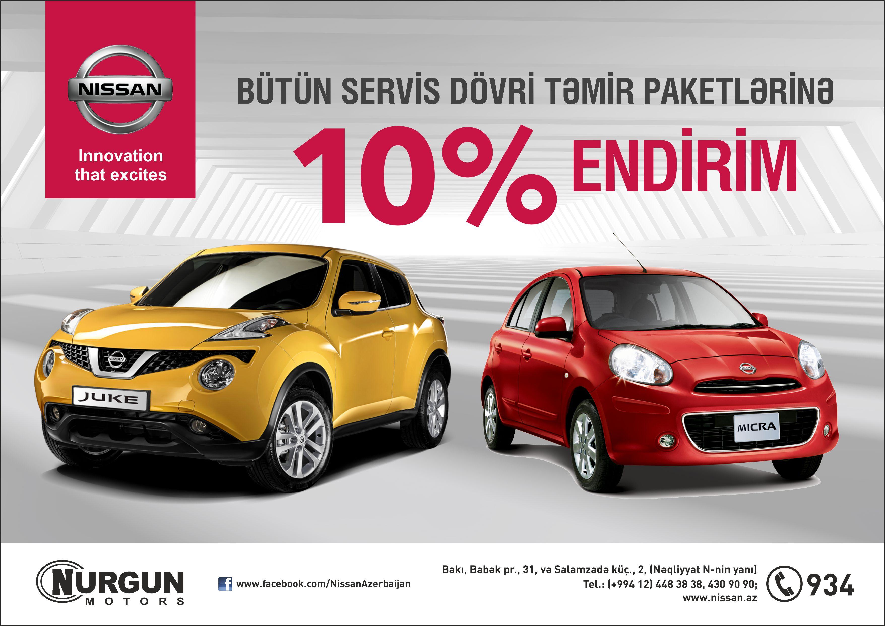 """""""Nissan Azərbaycan""""  servis  xidmətlərinə  yeni  Endirim Kampaniyasına start verdi!"""